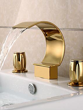 ราคาถูก บ้านและสวน-ก๊อกน้ำอ่างล้างจานห้องน้ำ - น้ำตก Ti-PVD กระจาย สามหลุม / จับสองสามหลุมBath Taps / Brass