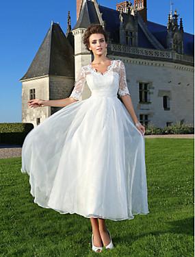 رخيصةأون فساتين قصة حرف A-A-الخط V رقبة طول الكعب أورجنزا / دانتيل شفاف فساتين الزفاف صنع لقياس مع عقدة / زينة / دانتيل بواسطة LAN TING BRIDE® / وهمي / Little White Dresses