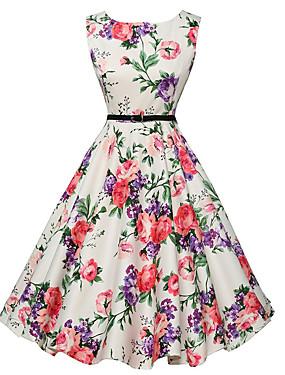 ieftine More-Pentru femei Ieșire Vintage Linie A Rochie - Imprimeu, Floral Lungime Genunchi Alb