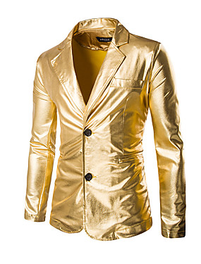 cheap Weekly Deals-Men's Party / Holiday / Club Sophisticated / Exaggerated Regular Blazer, Solid Colored Long Sleeve Cotton / Polyester Gold / Black / Silver XL / XXL / XXXL / Slim