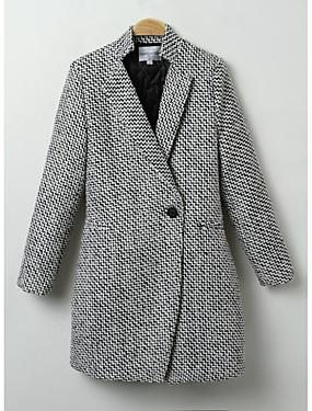 billige AleksandraAlex-Dame Ut på byen Chic & Moderne Vinter Normal Frakk, Ensfarget Langermet Polyester Moderne Stil Svart
