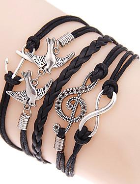 voordelige De Bruiloftswinkel-Heren Dames Wikkelarmbanden loom Bracelet Liefde Anker Bohémien Dubbele laag Legering Armband sieraden Zwart Voor Dagelijks Causaal