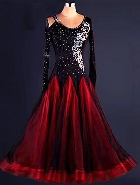 povoljno Kupuj više, štedi više-Klasični plesovi Haljine Žene Seksi blagdanski kostimi Spandex / Organza Drapirano / Čipka / Kristali / Rhinestones Dugih rukava Visok Haljina