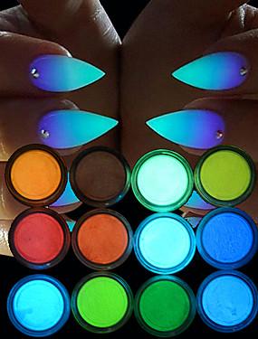 billige Neglesæt-12pcs Glitter Til Selvlysende / 12 farver Negle kunst Manicure Pedicure Chic & Moderne Fest & Aften / Daglig