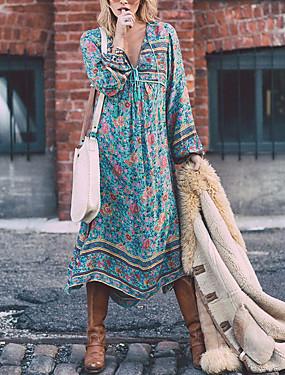 povoljno kamila-Žene Veći konfekcijski brojevi Praznik Boho Swing kroj Haljina - Print, Cvjetni print Duboki V Midi Plava / Širok kroj
