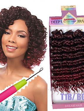 abordables Beauté & Cheveux-Rajouts de Tresses Bouclé / Crochet / Ondulation profonde Tresses bouclés Cheveux Synthétiques 3pcs / pack, 3 racines Cheveux Tressée Court 100% cheveux kanekalon