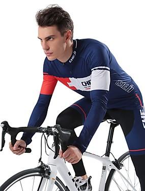 povoljno Sport és outdoor-cheji® Muškarci Dugih rukava Biciklistička majica s tajicama Obala Dark Blue Bicikl Sportska odijela Quick dry Sportski Moda Brdski biciklizam biciklom na cesti Odjeća