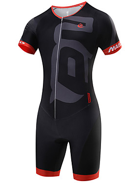 cheap Sports & Outdoors-Malciklo Men's Short Sleeve Triathlon Tri Suit - Black Geometic British Bike Breathable Quick Dry Sports Coolmax® Lycra Geometic Clothing Apparel / High Elasticity / SBS Zipper