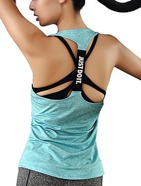 billige Sport og friluftsliv-Dame T-skjorte til jogging sport Ensfarget Singleter Utendørs Trening Multisport Ermeløs Sportsklær Pusteevne Elastisk