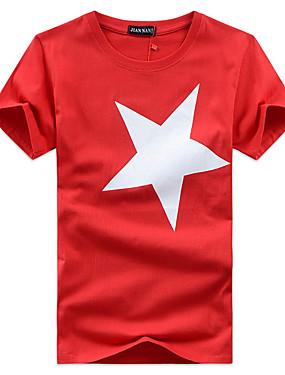 voordelige Weekly Deals-Heren Print T-shirt Geometrisch Ronde hals Zwart / Korte mouw / Zomer