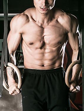 זול ספורט ושטח-KYLINSPORT Gymnastic Rings רצועות אבזם 23 cm קוטר עץ מתכוונן אוֹלִימְפִּי עומס כבד קרוספיט משיכה כלפי מעלה כוח הכתף יוגה כושר גופני כושר אמון ל