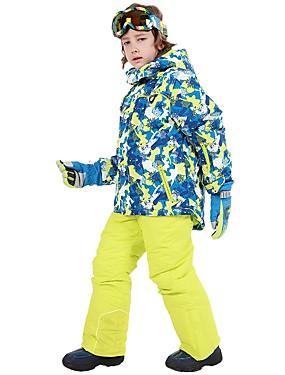 billige Sport og friluftsliv-Phibee Gutt Jente Skijakke og bukser Vanntett Hold Varm Vindtett Ski & Snowboard Utendørs Trening Freestyle-snowboard Polyester Vinterjakke Varme bukser Skiklær