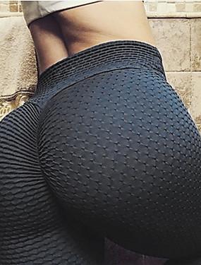 billige Sport og friluftsliv-Dame Jacquard Yogabukser sport Helfarge Spandex Tights Leggings Zumba Dans Løp Sportsklær Pustende Anatomisk design Butt Lift Nettingtights Elastisk Tynn / Ruched Butt Lifting