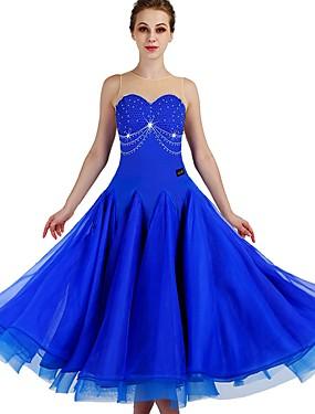 5e3ca5749856 Standardní tance Šaty Dámské Trénink Nylon   Organza   Tyl Křišťály    Bižuterie Bez rukávů Vysoký Šaty