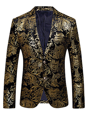 cheap Weekly Deals-Men's Party / Daily / Club Sophisticated / Exaggerated Spring / Fall Regular Blazer, Floral V Neck Long Sleeve Cotton / Polyester Print Gold / Silver XL / XXL / XXXL / Slim
