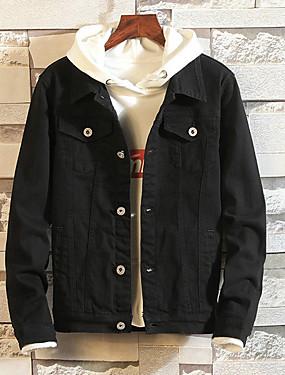 baratos Jaquetas Jeans-Homens Diário Básico Outono Padrão Jaqueta jeans, Sólido Colarinho de Camisa Manga Longa Poliéster Vermelho / Verde Tropa / Khaki XL / XXL / XXXL
