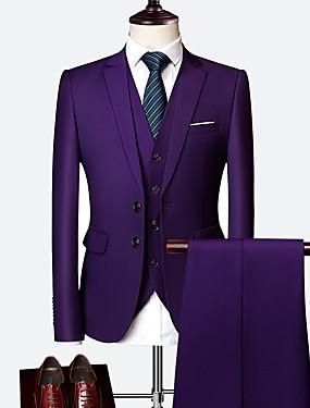 povoljno Vjenčanja i eventi-Tuxedos Kroj po mjeri / Standardni kroj Šiljasti Droit 2 boutons Vuna / Poliester Jednobojni