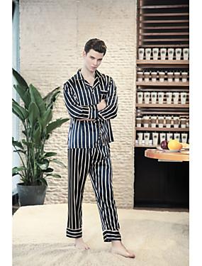 baratos Roupões & Pijamas para Homens-Homens Colarinho de Camisa Conjunto Pijamas Listrado