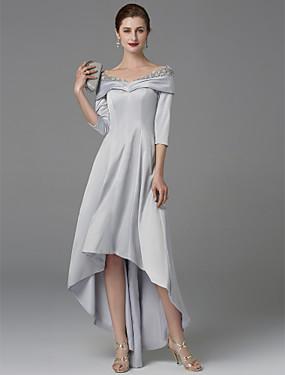 2e8914526cdb Γραμμή Α Ώμοι Έξω Ασύμμετρο Σατέν Φόρεμα Μητέρας της Νύφης με Κρυστάλλινη  λεπτομέρεια   Δαντέλα με LAN TING BRIDE®   Φανταχτερό