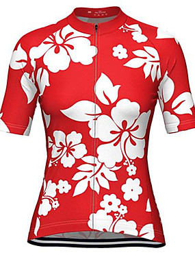 cheap Sports & Outdoors-Malciklo Women's Short Sleeve Cycling Jersey - Rose Red Floral / Botanical Bike Jersey Top Quick Dry Sweat-wicking Sports Terylene Clothing Apparel / Micro-elastic / Plus Size / Race Fit