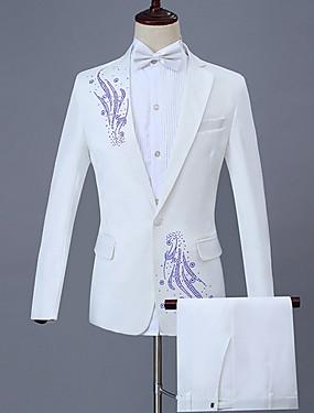 abordables Costumes & Blazers Homme-Homme costumes, Géométrique Revers Cranté Polyester Blanc XXL / XXXL / XXXXL