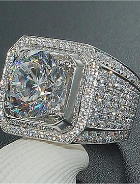 billige Herresmykker-Herre Ring Kubisk Zirkonium 1pc Hvit Kobber Geometrisk Form Stilfull / Iced Out / iriserende Bryllup / Fest / Daglig Kostyme smykker