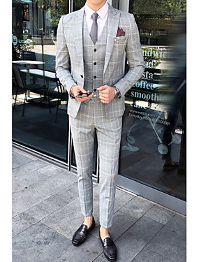 cheap The Wedding Store-Light Grey Checkered Slim Fit Polyster Suit - Peak Single Breasted One-button