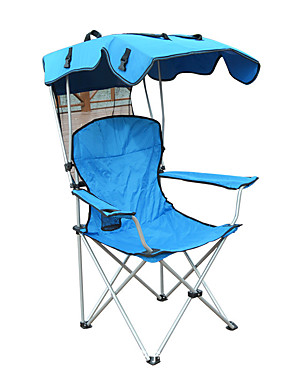 cheap Sports & Outdoors-Camping Chair with Cup Holder Portable Anti-Slip Foldable Comfortable Steel Tube Oxford for 1 person Camping Camping / Hiking / Caving Traveling Picnic Autumn / Fall Spring Blue
