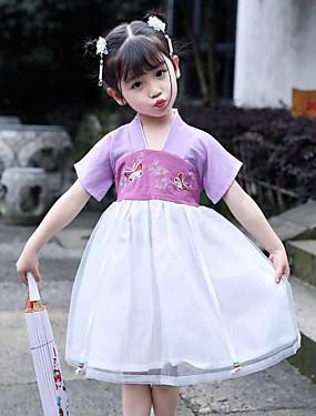 povoljno Vjenčanja i eventi-Dječja plesna odjeća Tradicionalna kineska odjeća hanfu Djevojčice Seksi blagdanski kostimi POLY Vez Kratkih rukava Haljina