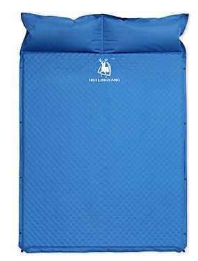 billige Sport og friluftsliv-HUILINGYANG Oppblåsbare sovepose Utendørs Camping Stretch Lin / Polyester Blanding 193*130*3.5 cm Camping / Vandring / Grotte Udforskning til 1 - 2 personer Alle årstider Blå / Dobbel