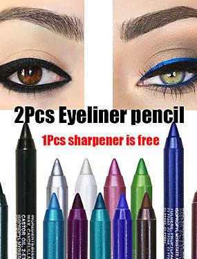 hesapli Göz-2 adet renkli pigment uzun ömürlü su geçirmez eyeliner kalem moda göz makyaj kozmetik