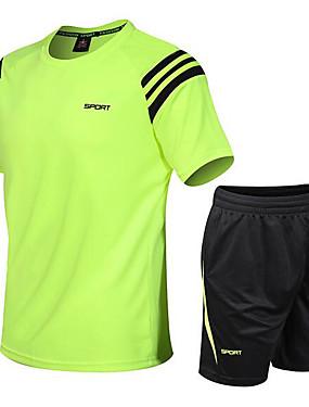 billige Sport og friluftsliv-Herre sport Ensfarget Treningsdrakt Trening & Fitness Fritidssport Badminton Kortermet Sportsklær Pustende Uelastisk