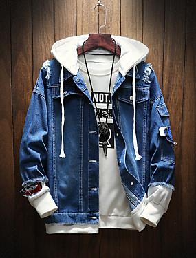 baratos Jaquetas Jeans-Homens Diário Outono / Outono & inverno Padrão Jaqueta jeans, Sólido Com Capuz Manga Longa Poliéster Azul Claro / Azul US32 / UK32 / EU40 / US34 / UK34 / EU42 / US36 / UK36 / EU44