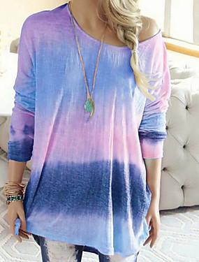 povoljno Ženske majice-Majica s rukavima Žene - Osnovni Dnevno Color block Blushing Pink