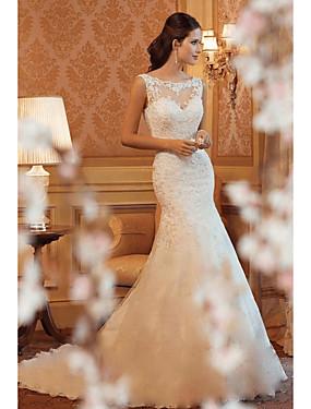 voordelige De Bruiloftswinkel-Trompet / zeemeermin Boothals Hofsleep Kant Op maat gemaakte trouwjurken met door LAN TING Express