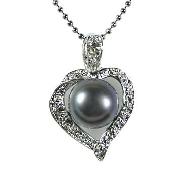 elegant versilbert schwarz aa Süßwasser-Zuchtperlen Halskette