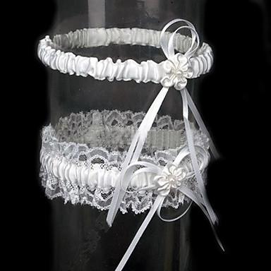 Spets Satäng Klassisk Bröllopskläder  -  Rosett Blomma Strumpeband