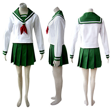 Inspirado por InuYasha Kikyo Animé Disfraces de cosplay Trajes Cosplay Uniformes Escolares Retazos Manga Larga Pañuelo Top Falda Para