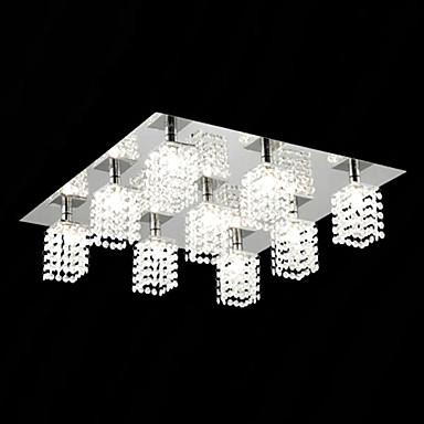 9-Light Flush Mount Ambient Light Electroplated Metal Glass Crystal 110V / 220-240V Bulb Included / G9