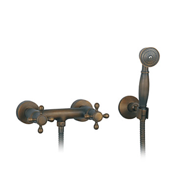 Antique Wall Mounted Handshower Included Ceramic Valve Three Holes Two Handles Three Holes Antique Brass , Shower Faucet