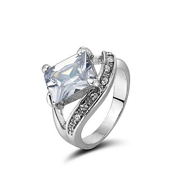 18K White Gold Plated Cubic Zirconia Ring (More Colors)