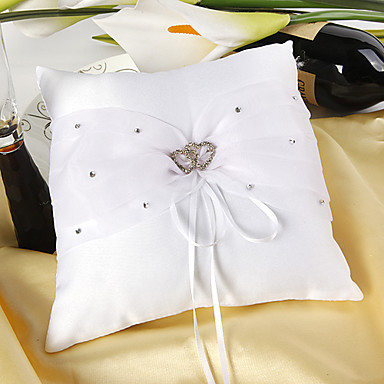 Ring Pillow In White Satin With Rhinestones Double Hearts Wedding Ceremony