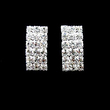 Kadın's Klipsli Küpeler Yapay Elmas Moda Som Gümüş Yuvarlak Mücevher Günlük Kostüm takısı