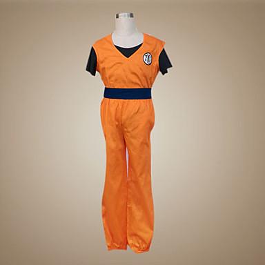 Esinlenen Dragon Ball Son Goku Anime Cosplay Kostümleri Cosplay Takımları Kırk Yama Kısa Kollu Yelek Pantalonlar Bilezik Kemer Tişört