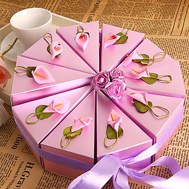 Yuvarlak / Dörtgen İnci Kağıdı Favor Tutucu ile Kurdeleler / Resim / Çiçekli Hediye Kutuları