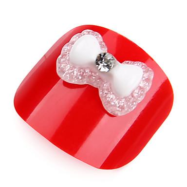 20pcs bianco cristallo acrilico cravatta strass nail art