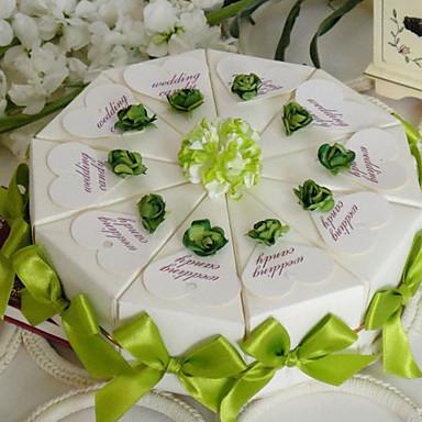 Πυραμίδα Χάρτινη Κάρτα Εύνοια Κάτοχος με Κορδέλες Λουλούδι Κουτιά Μποπονιέρων