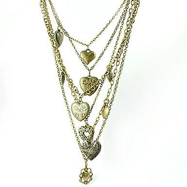 bronzo tinta strati cuore medaglioni collana
