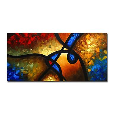 Hang-malované olejomalba Ručně malované - Abstraktní Současný styl Plátno / Reprodukce plátna