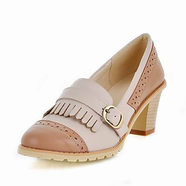 Leatherette Chunky Heel Closed Toe Shoes With Tassel